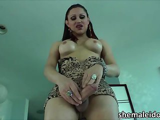 Shemale Selina Malone plays sex toys in masturbation session