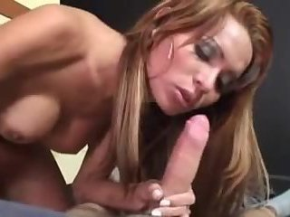 Sexy Brunette TS ass banged hard