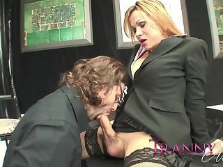 Horny Blonde Shemale Nailing a Guy