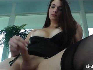 Fresh faced TS Acadia Veneer cums after a nice masturbation