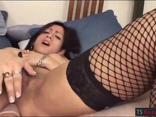 Booby shemale Alondra anal ripped hard