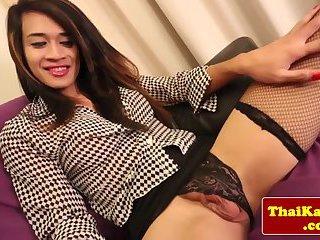 Classy thai shemale whore wanks herself