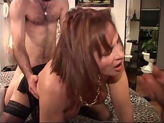 Mature Chi Sei works with two guys