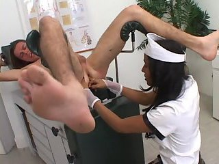 Naked guy gets TS nurses dick