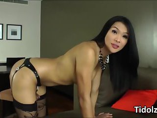 Sultry ladyboy Fanta hand pleases her healthy shecock