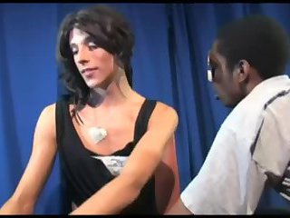 Tall skinny Tgirl works with a black guy