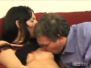 Stockinged tranny whore rides her clients dick