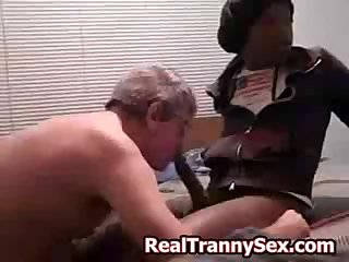 Black crossdresser fucks white guy