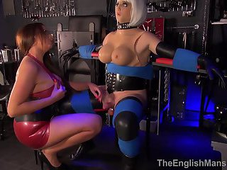 Tranny Dolly Milking Handjob by Big Tit Mistress