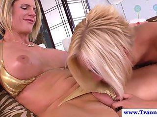 Titty bikini tgirl gets jerked