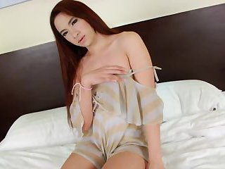 TGirl Tonkaow shows off her lustful body and masturbate in solo