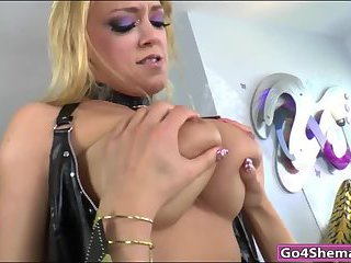 Busty shemale fucked slutty chick in ass