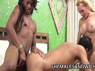 Michelle Charme and Rafaella Iohan - Black And White Shemales