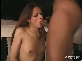 Evening outdoor sex with a skinny tranny chick
