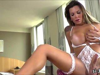 Sizzlin hot tgirl Julie Berdu toys ass while jerking off