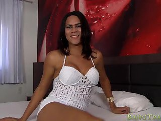 Busty latina shemale gets her ass nailed
