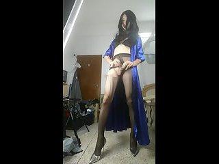 Chinese crossdresser masturbation