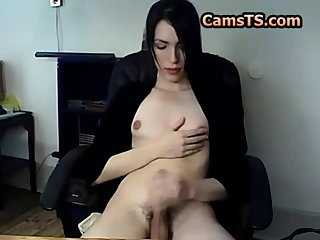 Skinny shemale with great nipples and a nice cock