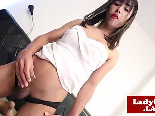 Perkytitted tgirl Bong strokes her cock