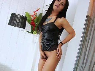 Asian Transgirl Manow gets dick jizz in a solo masturbation