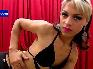 Solo latina tranny jerking her cock