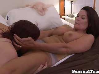 Teeny tgirl orally pleasuring mature tart