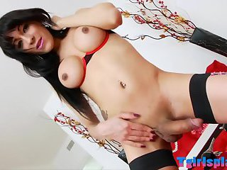 Huge boobs shemale gets her ass nailed