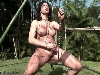 Big boobed shemale is jerking off until messy cumshot