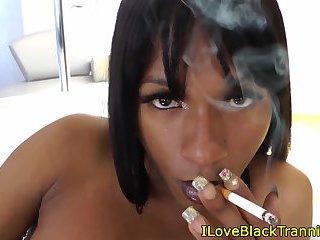 Black tranny jerking off her bigcock