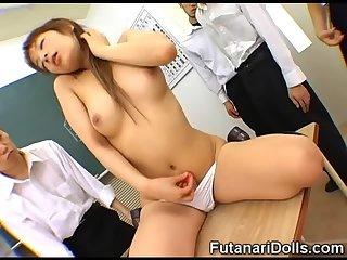 Futanari Reveals Her Cock at School
