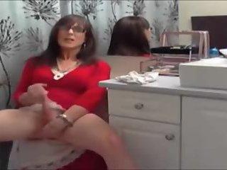Crossdresser Solo in Red Dress