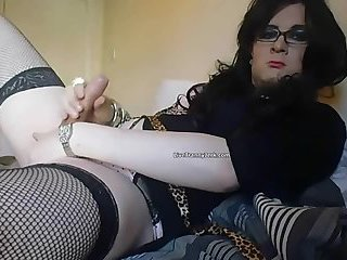 Sexy CD crossdress crossdresser tranny solo cock play