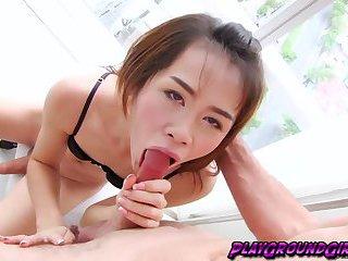 Horny tranny babe Nat stroking her pole