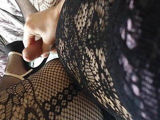 Body stocking,heels & bra cum