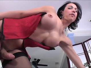 TS sex kitten Danika Dreamz lubes her big cock and jerks off