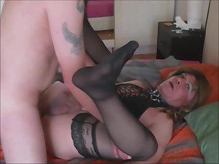 Lara tranny barebacked by Franck  and filmed by ex-wife