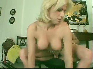 Busty blonde tranny