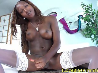 Stockinged black tgirl jerks and drops cum