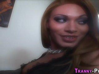 Banged tranny facialized