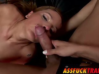 Sexy tranny loves having Celestes big dick inside her ass
