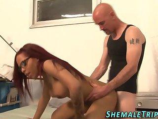 Black shemale doc cumshot
