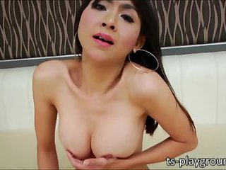 Teasing Asian TS Sugar pleases her own healthy shedick