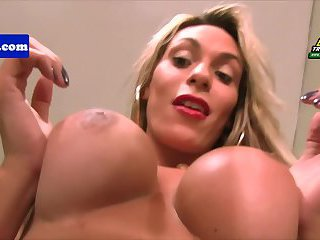 Latina tgirl with tanline pulling on her cock