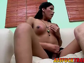 Amazing stud having sex with two gorgeous transsexuals
