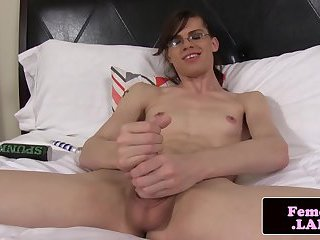 Solo spex femboy jerking big dick