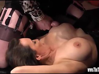 Hot crossdresser has nylon foot wank and tight ass fucked