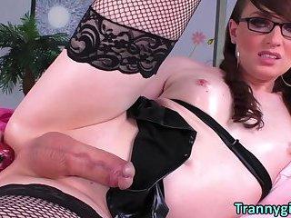 TS Natalie Mars greasing herself for a masturbatory show