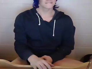 Blue Hair TS with Chastity Cage On Webcam