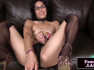 Spex femboy toying her ass with dildo