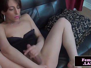 Masturbating trap pleasuring her hard cock